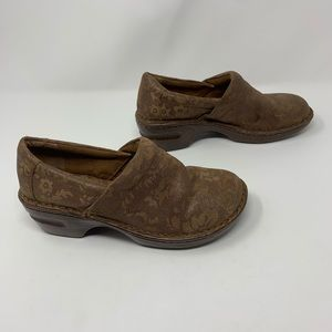 BOC Floral Leather Comfort Clog Shoes